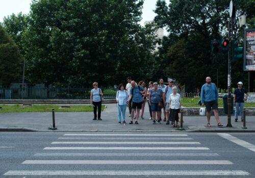 Un participant alături de un voluntar se află printre o mulțime de trecători care așteaptă la o trecere de pietoni