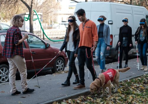 Mai mulți participanți se deplasează cu bastoane sau cu câine ghid, asistați de voluntari.
