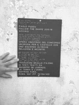 placă cu informații în Braille și în negru despre instalația artistică